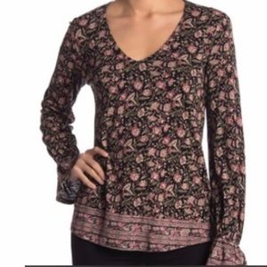 Lucky Brand Floral Bell Sleeve Blouse - Size Small